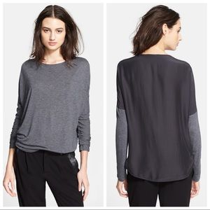 NEW Vince. Gray & Black Silk Dolman Top